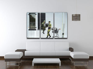Banksy Looting Soldiers 3 Split Panel Canvas Print - Canvas Art Rocks