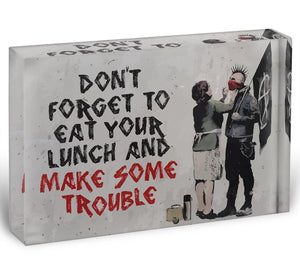Banksy Make Some Trouble Acrylic Block - Canvas Art Rocks - 1