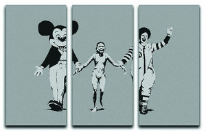 Banksy Mickey And Ronald 3 Split Panel Canvas Print - Canvas Art Rocks - 1