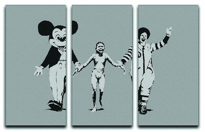 Banksy Mickey And Ronald 3 Split Panel Canvas Print