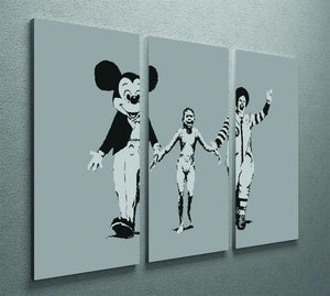 Banksy Mickey And Ronald 3 Split Panel Canvas Print - Canvas Art Rocks - 2