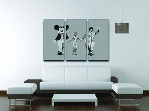 Banksy Mickey And Ronald 3 Split Panel Canvas Print - Canvas Art Rocks - 3