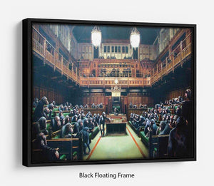 Banksy Monkey Parliament Floating Frame Canvas