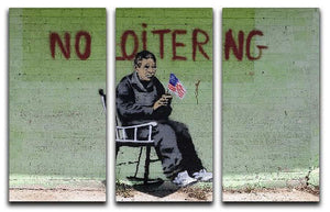 Banksy No Loitering 3 Split Panel Canvas Print - Canvas Art Rocks - 1