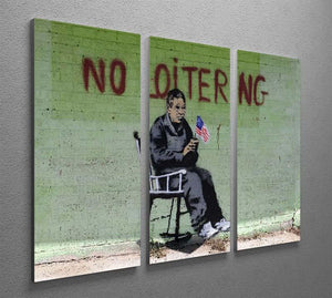 Banksy No Loitering 3 Split Panel Canvas Print - Canvas Art Rocks - 2