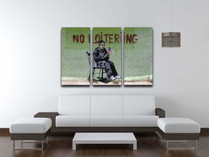 Banksy No Loitering 3 Split Panel Canvas Print - Canvas Art Rocks - 3