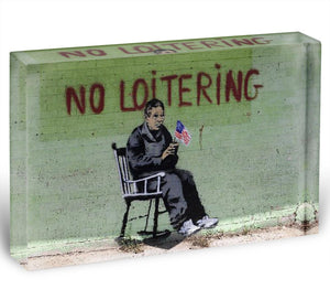 Banksy No Loitering Acrylic Block - Canvas Art Rocks - 1