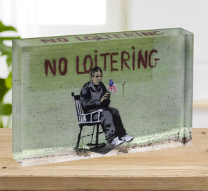 Banksy No Loitering Acrylic Block - Canvas Art Rocks - 2