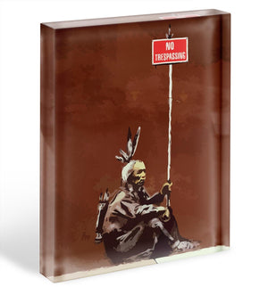Banksy No Trespassing Acrylic Block - Canvas Art Rocks - 1