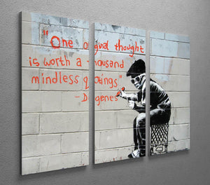 Banksy One Original Thought 3 Split Canvas Print - Canvas Art Rocks