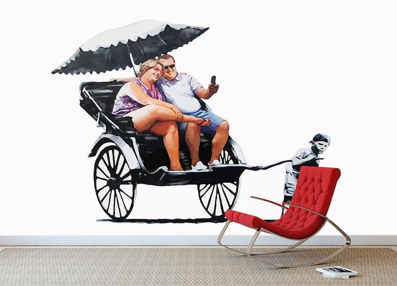 Banksy Rickshaw Kid Wall Mural Wallpaper - Canvas Art Rocks - 1
