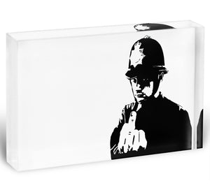 Banksy Rude Policeman Acrylic Block - Canvas Art Rocks - 1