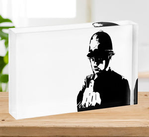 Banksy Rude Policeman Acrylic Block - Canvas Art Rocks - 2