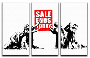 Banksy Sale Ends Today 3 Split Panel Canvas Print - Canvas Art Rocks