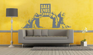 Banksy Sale Ends Today Wall Sticker - Canvas Art Rocks