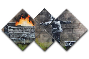 Banksy Seasons Greeting 4 Square Multi Panel Canvas  - Canvas Art Rocks - 1