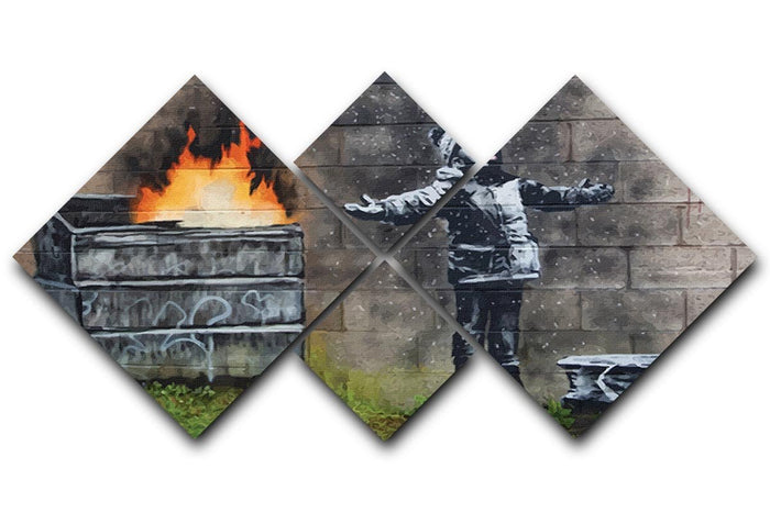 Banksy Seasons Greeting 4 Square Multi Panel Canvas