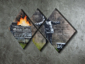 Banksy Seasons Greeting 4 Square Multi Panel Canvas  - Canvas Art Rocks - 2