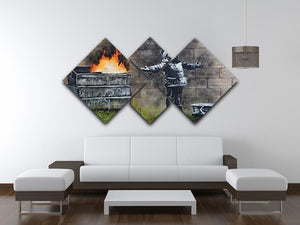 Banksy Seasons Greeting 4 Square Multi Panel Canvas  - Canvas Art Rocks - 3