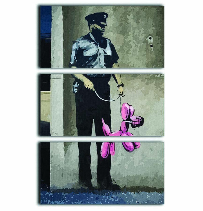 Banksy Security Guard With Pink Balloon Dog 3 Split Panel Canvas Print