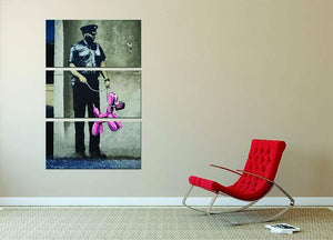 Banksy Security Guard With Pink Balloon Dog 3 Split Panel Canvas Print - Canvas Art Rocks - 2