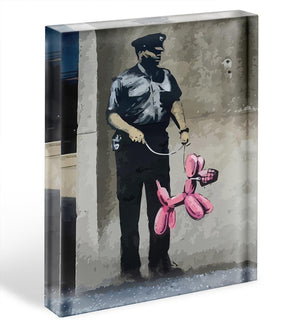 Banksy Security Guard With Pink Balloon Dog Acrylic Block - Canvas Art Rocks - 1