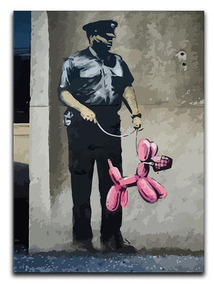 Banksy Security Guard With Pink Balloon Dog Canvas Print or Poster  - Canvas Art Rocks - 1