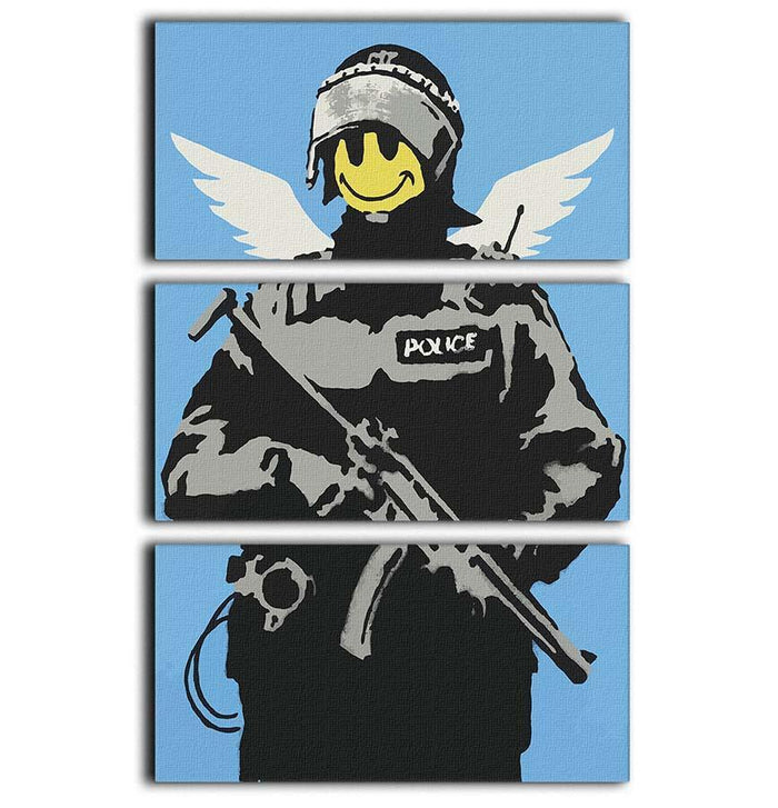 Banksy Smiley Angel Policeman 3 Split Panel Canvas Print