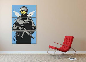 Banksy Smiley Angel Policeman 3 Split Panel Canvas Print - Canvas Art Rocks - 2