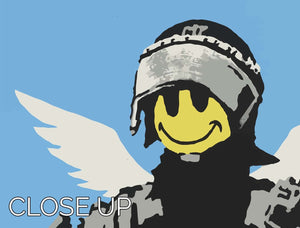 Banksy Smiley Angel Policeman 3 Split Panel Canvas Print - Canvas Art Rocks - 3