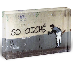 Banksy So Cliche Acrylic Block - Canvas Art Rocks - 1