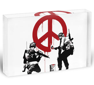 Banksy Soldiers Painting CND Sign Acrylic Block - Canvas Art Rocks - 1