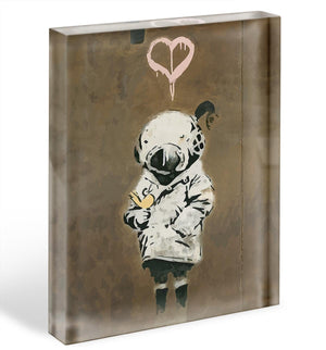 Banksy Space Girl And Bird Acrylic Block - Canvas Art Rocks - 1