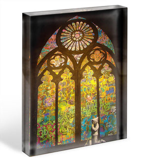 Banksy Stained Glass Window Acrylic Block - Canvas Art Rocks - 1