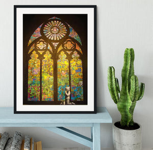 Banksy Stained Glass Window Framed Print - Canvas Art Rocks - 1