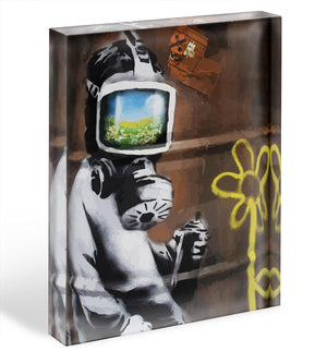 Banksy Sunflower Field Gas Mask Acrylic Block - Canvas Art Rocks - 1