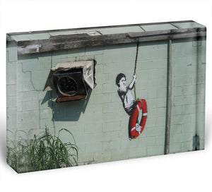 Banksy Swing Boy Acrylic Block - Canvas Art Rocks - 1