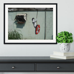 Banksy Swing Boy Framed Print - Canvas Art Rocks - 1