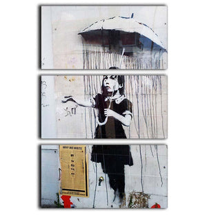 Banksy Umbrella Girl 3 Split Panel Canvas Print - Canvas Art Rocks - 1
