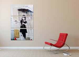 Banksy Umbrella Girl 3 Split Panel Canvas Print - Canvas Art Rocks - 2