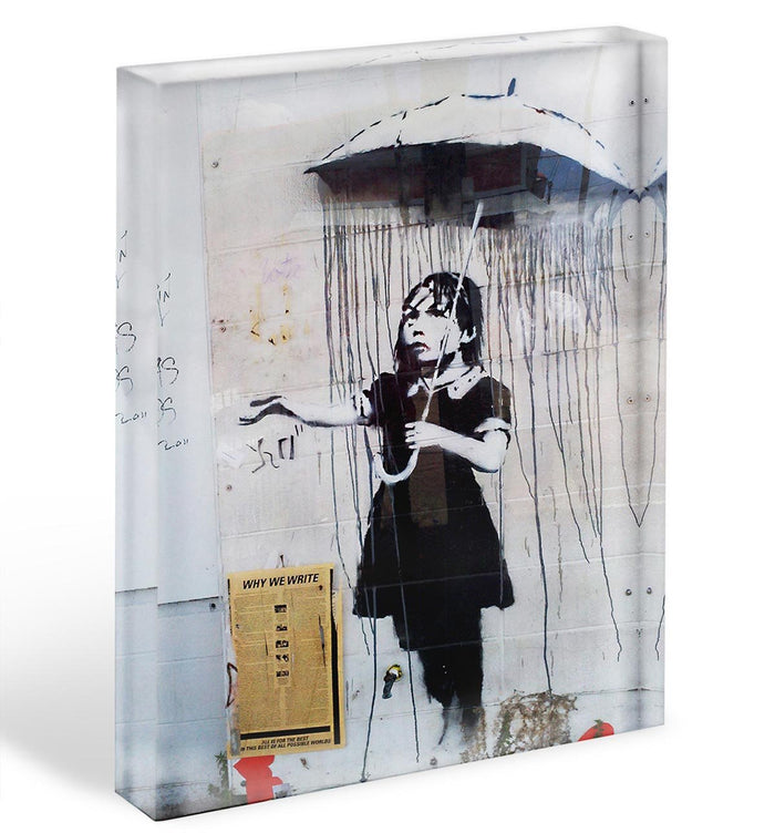 Banksy Umbrella Girl Acrylic Block
