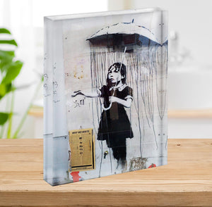 Banksy Umbrella Girl Acrylic Block - Canvas Art Rocks - 2