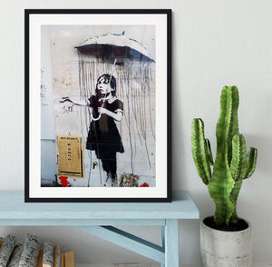 Banksy Umbrella Girl Framed Print - Canvas Art Rocks - 1
