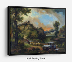 Banksy Vandalised Car Floating Frame Canvas