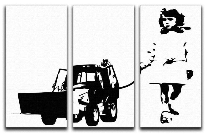Banksy Walking The Cat 3 Split Panel Canvas Print