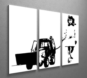 Banksy Walking The Cat 3 Split Panel Canvas Print - Canvas Art Rocks - 4