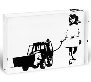 Banksy Walking The Cat Acrylic Block - Canvas Art Rocks - 1