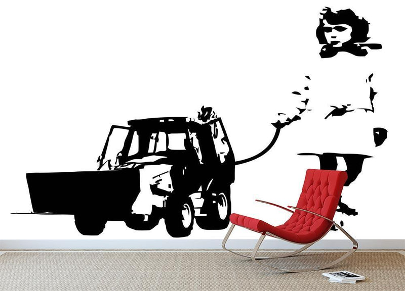 Banksy Walking The Cat Wall Mural Wallpaper - Canvas Art Rocks - 1