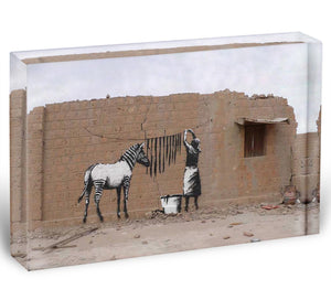 Banksy Washing Zebra Stripes Acrylic Block - Canvas Art Rocks - 1