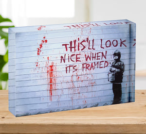 Banksy When Its Framed Acrylic Block - Canvas Art Rocks - 2